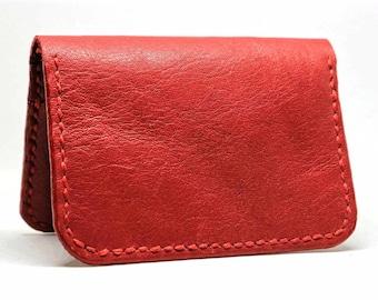 Billfold wallet, leather wallet, slim wallet, designer wallet,  red wallet, handmade wallet , card wallet,  card holder