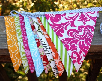 Bright Flag Bunting Banner, Fabric Garland in Pink, Orange & Aqua. Designer's Choice 9 Large Flags. Photo Prop, Party Decor...Ready to Ship