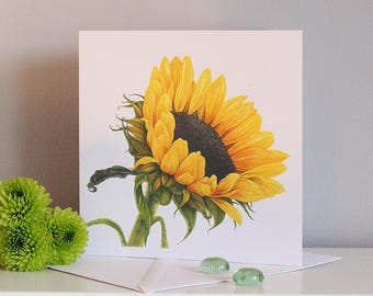 Sunflower Greeting Card, Floral Greeting Card, Flower Card, Card for Her, Floral Notelet