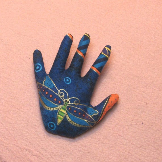 Laurel Burch Fabric Hand Brooch ~ Hamsa Pin ~ Ready to Ship