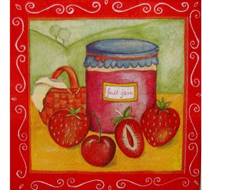 Set of 3 FRU009 jams of strawberries and cherries paper napkins