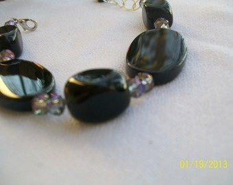 Genuine Black Onyx, Crystal and Sterling Silver Bracelet and Earrings Set
