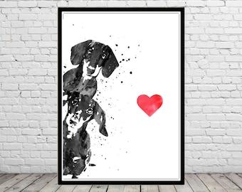 Dachshund, Dachshund dog watercolor print, Dachshund art, dog print, animal art, dog, Kids Room Decor, Poster, wall art, print (4430b)