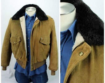 Vintage Bomber Jacket / Vintage Faux Fur Collar Jacket / Borg Collar Jacket / Vintage Pilot Jacket / Vintage Suede Jacket / Vintage Sherpa
