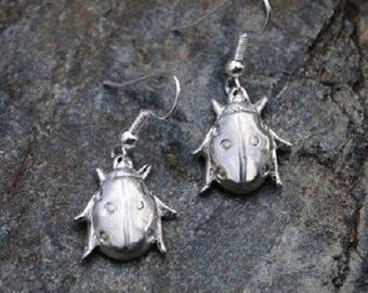 Ladybird Pewter Earrings