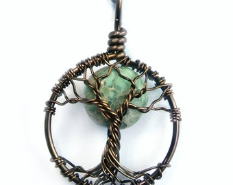 Tiny Moon Tree of Life Necklace with Aqua Terra Jasper Moon, Teal, blue-green, Moon Necklace