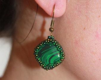 malachite earrings malachite crystal malachite gemstone malachite green green stone earrings simple earrings malachite dangle square earring