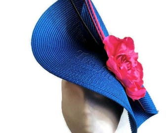 Pink and blue fascinator, royal blue fascinator, pink fascinator, blue wedding hat, pink derby hat, royal blue hat, blue derby fascinator
