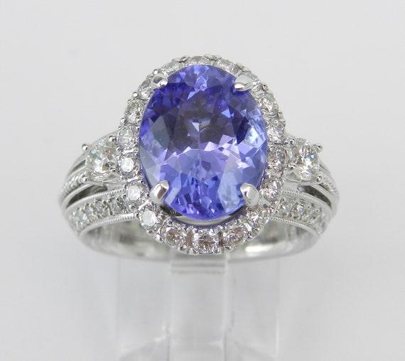 18K White Gold 5.67 ct Diamond and Tanzanite Halo Engagement Ring Size 6.25