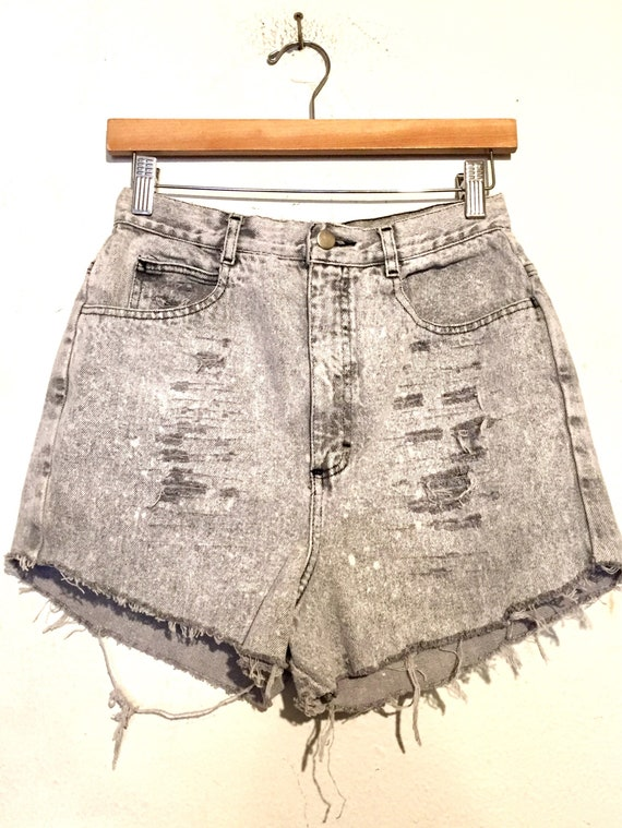 90s High Rise Distressed Denim Cut Off Shorts