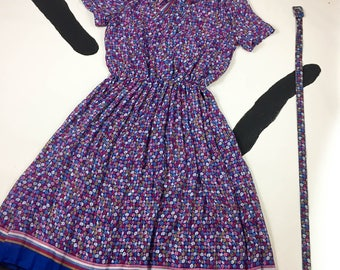 80's fluttery floral semi sheer chiffon dress / 1980's sexy office pussy bow tie collar mixed prints stripe full pleated day dress size L XL