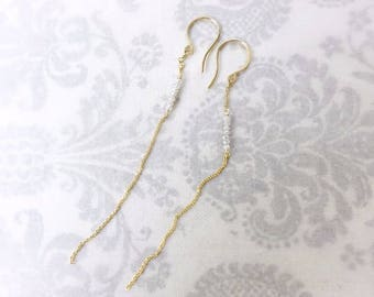 Natural Off White Diamond Faceted Rondelle BeadsThreader Earrings, Gold Filled Threader Earrings