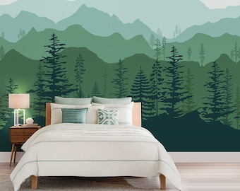 Peel and stick Ombre Mountain pine trees forest scenery nature wallpaper wall decal sticker for interior