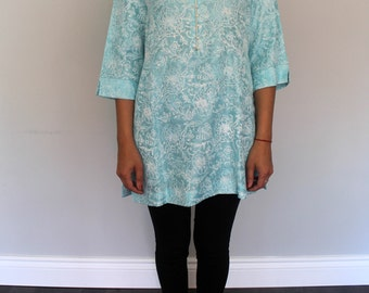 Blue Block Print Tunic