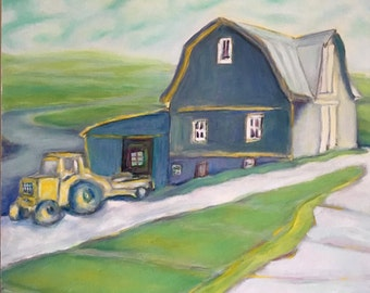 "Tractor Barn, Oil on Canvas, 20x20"" x 3/4"" deep, finished edges, unframed, 2017"
