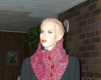 Raspberry Three Button Scarflette Hand knit Recycled Upcycled Yarns Polyester fibers Neckwarmer Scarf Cowl