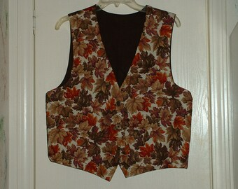 Hand Crafted vest with Colors of Fall theme
