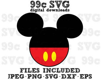 Mickey Head with Clothes SVG DXF Png Vector Cut File Cricut Design Silhouette Cameo Vinyl Decal Disney Party Stencil Template Heat Transfer