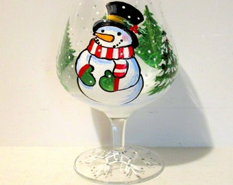 Snowman and Christmas Trees Snow Flakes Hand Painted Brandy Sniffer or Wine Glass, Beer Glass, Tea Glass  Christmas Gift Winter Scene