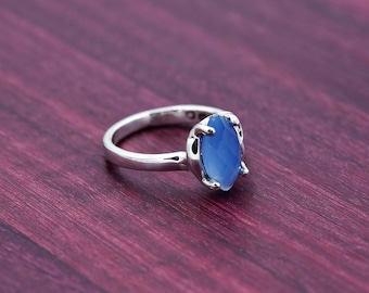 950 Sterling Silver Blue Chalcedony Statement Ring, Beautiful Blue Chalcedony Ring - size 7
