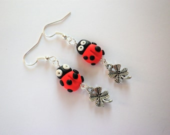 loop polymer clay Ladybug little beast has worn God blessed red polka dot black clover silver