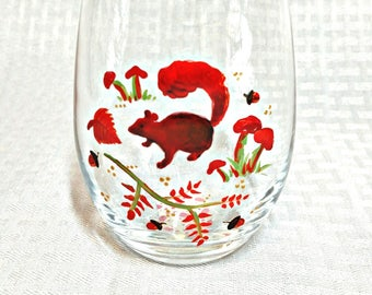 Gift for Autumn Lover | Stemless Wine Glass, Forest Animal, Woodland Creature, Squirrel, Woodland Creature Gift, Woodland Decor, Fall Decor