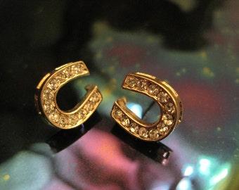 Gold Horseshoe Earrings - Stud Earrings - Rhinestone Horseshoe Earrings - Horseshoe Earrings - Horseshoe Jewelry - Good Luck Jewelry