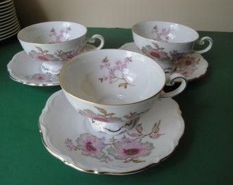 "3 Sets Mitterteich Bavaria ""Dogwood"" Germany Cups & Saucers"