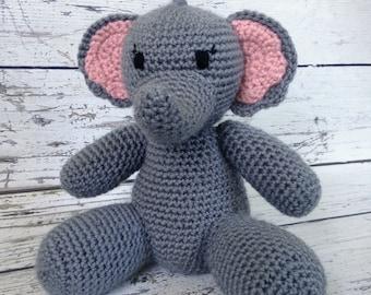 Jellybean the Elephant, Crochet Elephant, Stuffed Animal, Elephant Amigurumi, Plush Animal, MADE TO ORDER