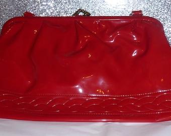 Vintage 70's red bag purse in red vinyl PVC wetlook keynote