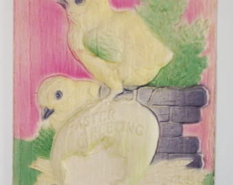Vintage Easter Postcard Embossed Chicks & Egg Early 1900s Uncirculated