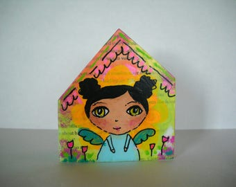 Wooden block houses, children's art, nursery art, mixed media art, wooden houses, altered art, miniature houses, acrylic painting, OOAK