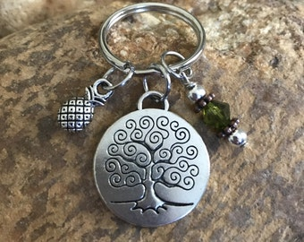 Pineapple keychain, tree of life keychain, backpack accessory, olive green keychain, graduation gift, Mother's Day gifts, gifts for her or h