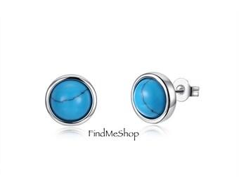 Handmade Vintage Silver Earrings Round Kallaite Stone Turquoises Stud Earrings For Women Accessories