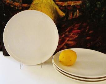 Four Carefree True China White Mid Century Dinner Plates, Serene by Syracuse, Carefree True China,USA, 1950's-60's Mod Plates