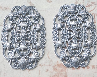 TWO Small Oblong Brass Filigree Finding, Sterling Silver finish