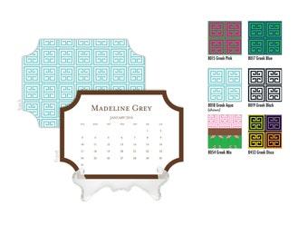 2018 Desk Calendar / Custom Calendar / Calendar with Stand / Bookplate Shape Calendar / 2018 Calendar / Monogrammed Calendar Greek Key