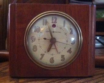 Vintage General Electric Art Deco Wood Alarm Clock