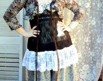 Ruffled Bloomers, Bloomers, Pantaloons, Victorian Paisley Bloomers, Black and Cream Boomers, Mori Girl, Country Cowgirl Chic, Gypsy, M,L