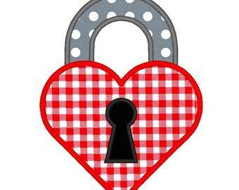 Padlock Keyhole Heart Love Valentine Applique. Machine Embroidery Design Digitized File