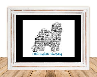 Old English Sheepdog, Old English Sheepdog Art, OES Art, OES Gifts Under 25, OES Gift,Custom, Personalize, Pet Memorial, Custom Dog