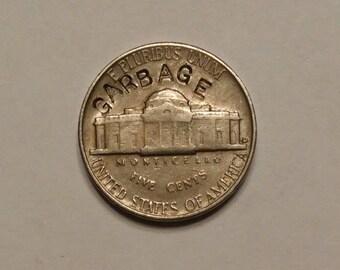 1954-D Jefferson Nickel Counterstamped Garbage