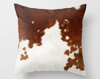 Cowhide Pillow Cow Print Pillow Brown and White Cow Pattern Pillow Cover animal print Decorative Throw Pillow Cover Watercolor print pillow