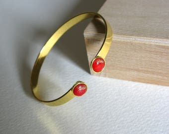 women Gold bracelet, gold bangle, red and gold