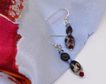 Gray and Red Dangles, Valentine Earrings, Ceramic & Garnet Earrings, DoreenDesigns, Handmade, OOAK, , Red Garnet Earrings, Party Earrings