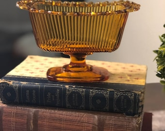 Amber Glass Vintage Pedestal Dish with Lace Edge