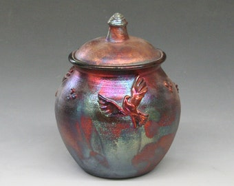 Raku Urn or Lidded Pot with Doves
