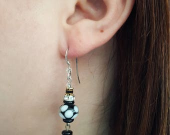 Black and White Rondelle Earrings