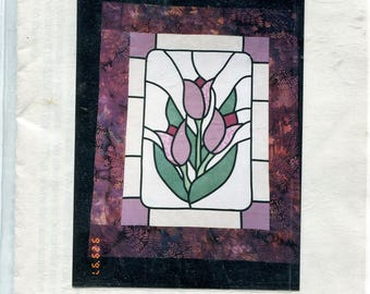"""Stained Glass Tulips Quilt Sewing Pattern, Touch of Love, 22""""x28"""" Wall Hanging, Vintage 1997, Complete, Flowers, Springtime"""