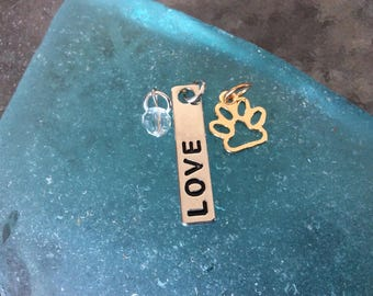 "1 - Pet ""Love"" in mixed metals 3 piece Pendant or Charm Set, Dog pendant, cat charm, charm bracelet set, bangle charm, Stamped Pendant"